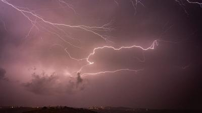 Courtesy of JNS Lightning over the Shomron Mountains in the West Bank
