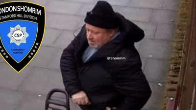 Courtesy of  Photo credit: Shomrim A man who is suspected of assaulting a pregnant Orthodox Jewish woman on a London street on March 18, 2021.
