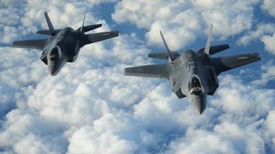 Courtesy of U.S. Air Force/1st Lt. Erik D. Anthony. via JNS  Two Israeli F-35I Adir jets fly in formation.