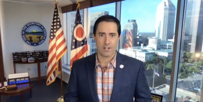 Ohio Secretary of State Frank LaRose speaks to Jewish media about the November elections during a private briefing on Monday, September 21