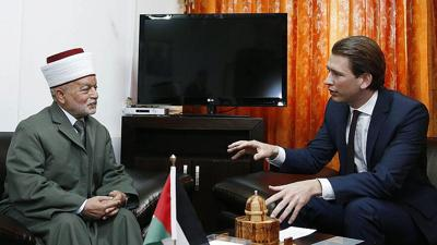 Courtesy of JNS Photo credit: Dragan Tatic, Federal Ministry for Europe, Integration and Foreign Affairs  Austrian Foreign Minister Sebastian Kurz (right) meets the Grand Mufti of Jerusalem, Muhammad Ahmad Hussein, on April 21, 2014.