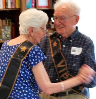 Bernard dances with his wife, Stella, on their 65th wedding anniversary in 2015
