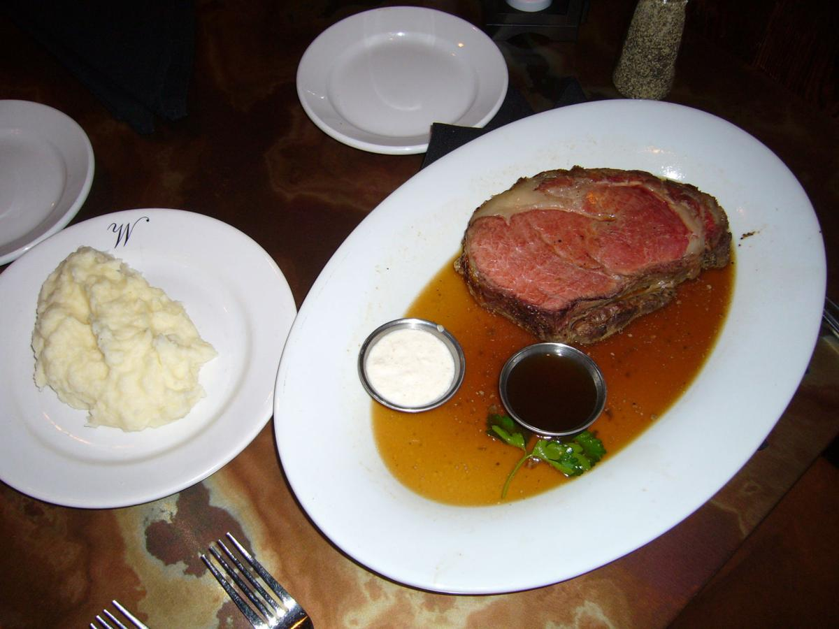 The prime rib of beef is a featured entree on Walt's Hitching Post's menu.