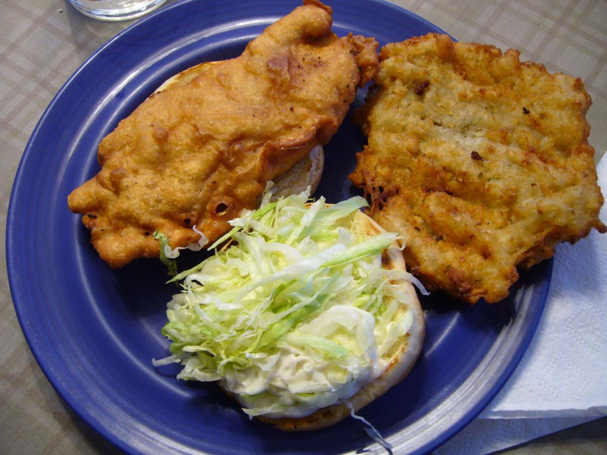The Codfather: a giant codfish sandwich, served with potato pancake