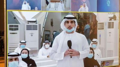 """Courtesy of JNS  Dubai ground crew communicating with the UAE """"Hope"""" probe after its successful launch to Mars on July 19, 2020."""