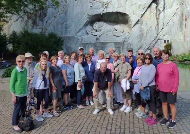 The travel group taken at the Lion Monument in Lucerne, Switzerland.