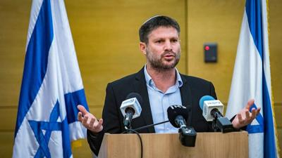 Courtesy JNS; Photo Credit: Olivier FItoussi Tkuma Party head Bezalel Smotrich gives a press statement in the Knesset, in Jerusalem, on April 4, 2021.