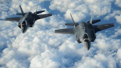 Courtesy of JNS Two Israeli F-35I Adir jets fly in formation