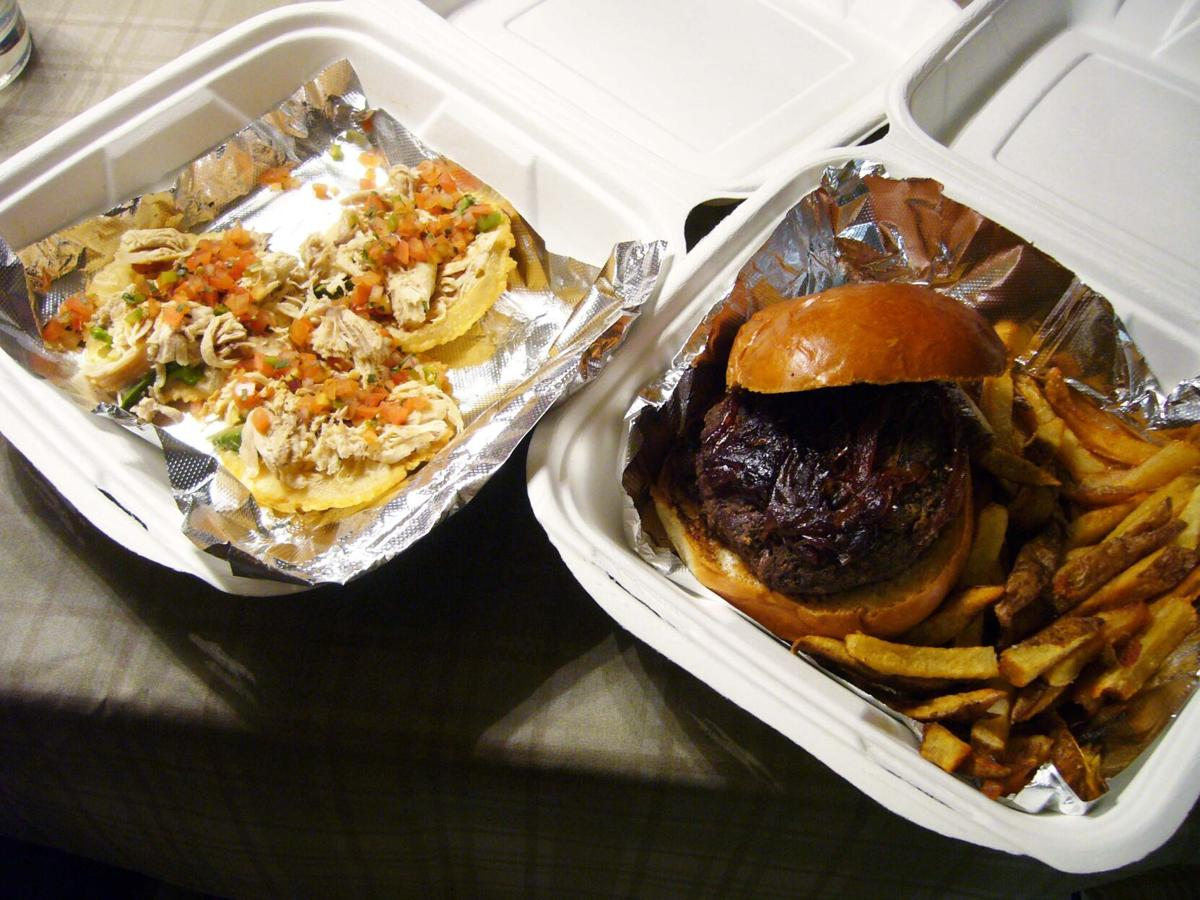 The burger and chicken tacos