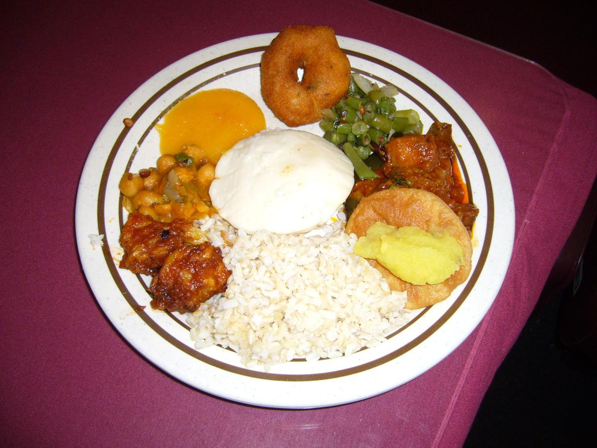 Amma's Kitchen serves eggplant stew on its luncheon buffet.