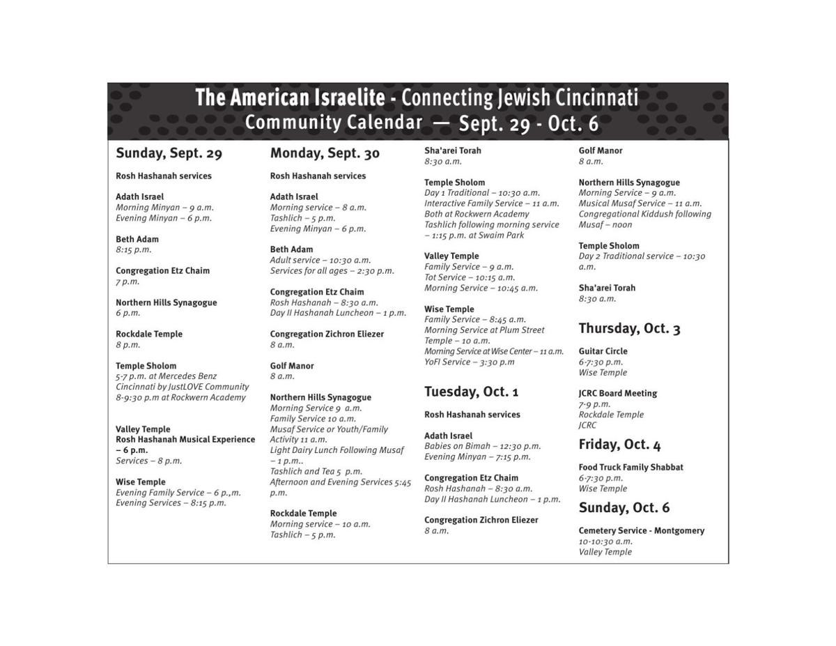 Community Calendar Sept. 29 - Oct 6
