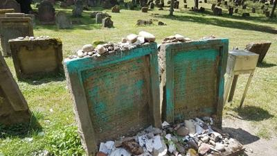 Courtesy of JTA Photo credit: The city of Worms  Vandalized gravestones at the medieval Jewish cemetery in the German city of Worms.
