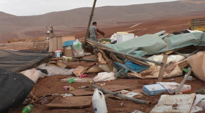 Courtesy of JTA  Footage from a video uploaded by the B'Tselem group shows the remains of a Bedouin village in the West Bank.
