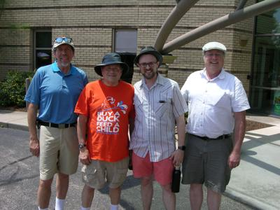 Rabbi Noah Farrow and volunteers at Northern Hills Synagogue BBQ Festival.