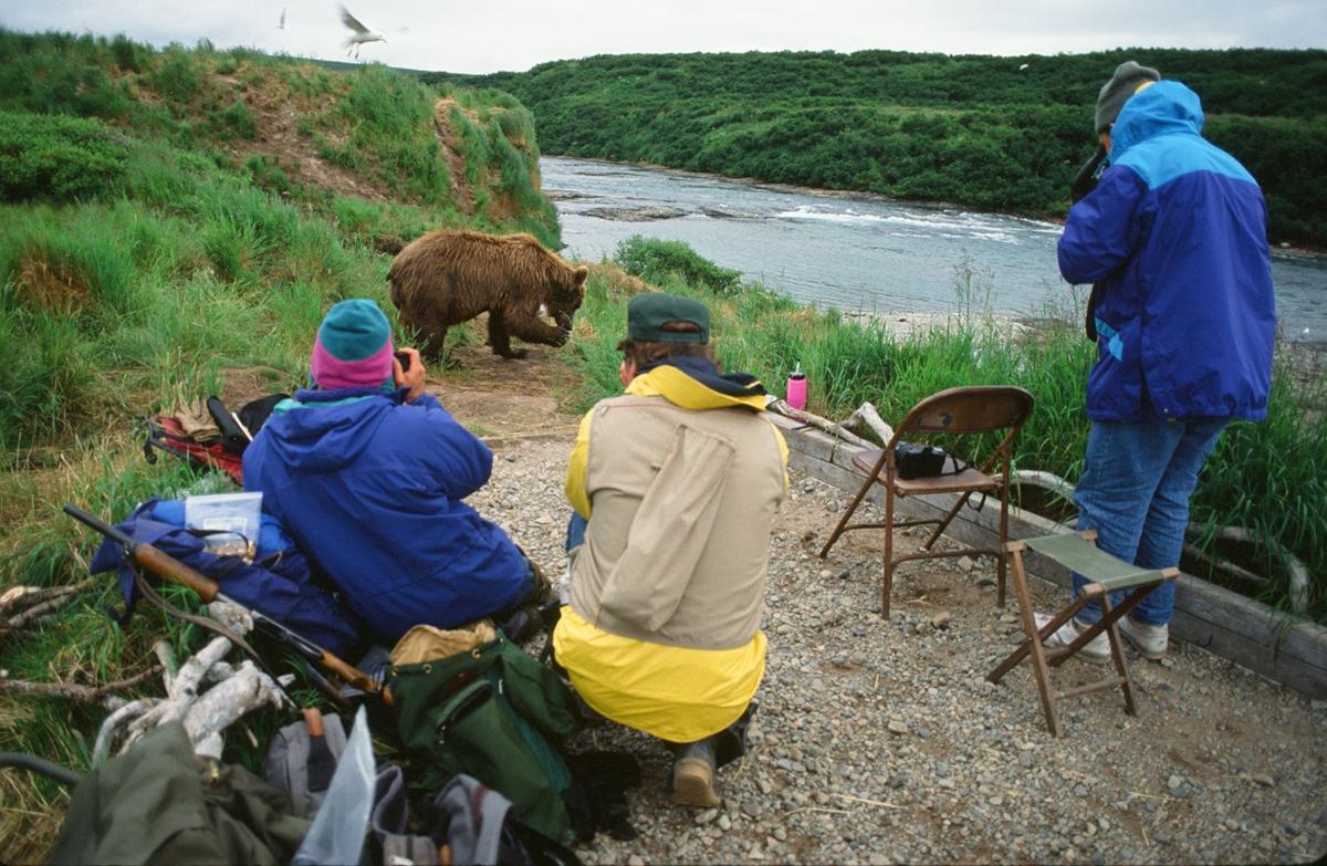 Bears Come First - Sherwonit.bear & people at McNeil Falls..JPG