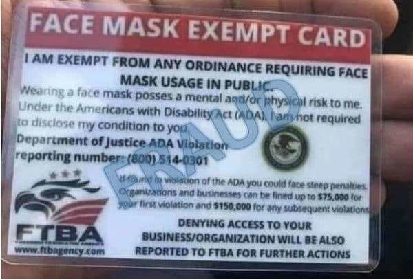 Facemask exempt card