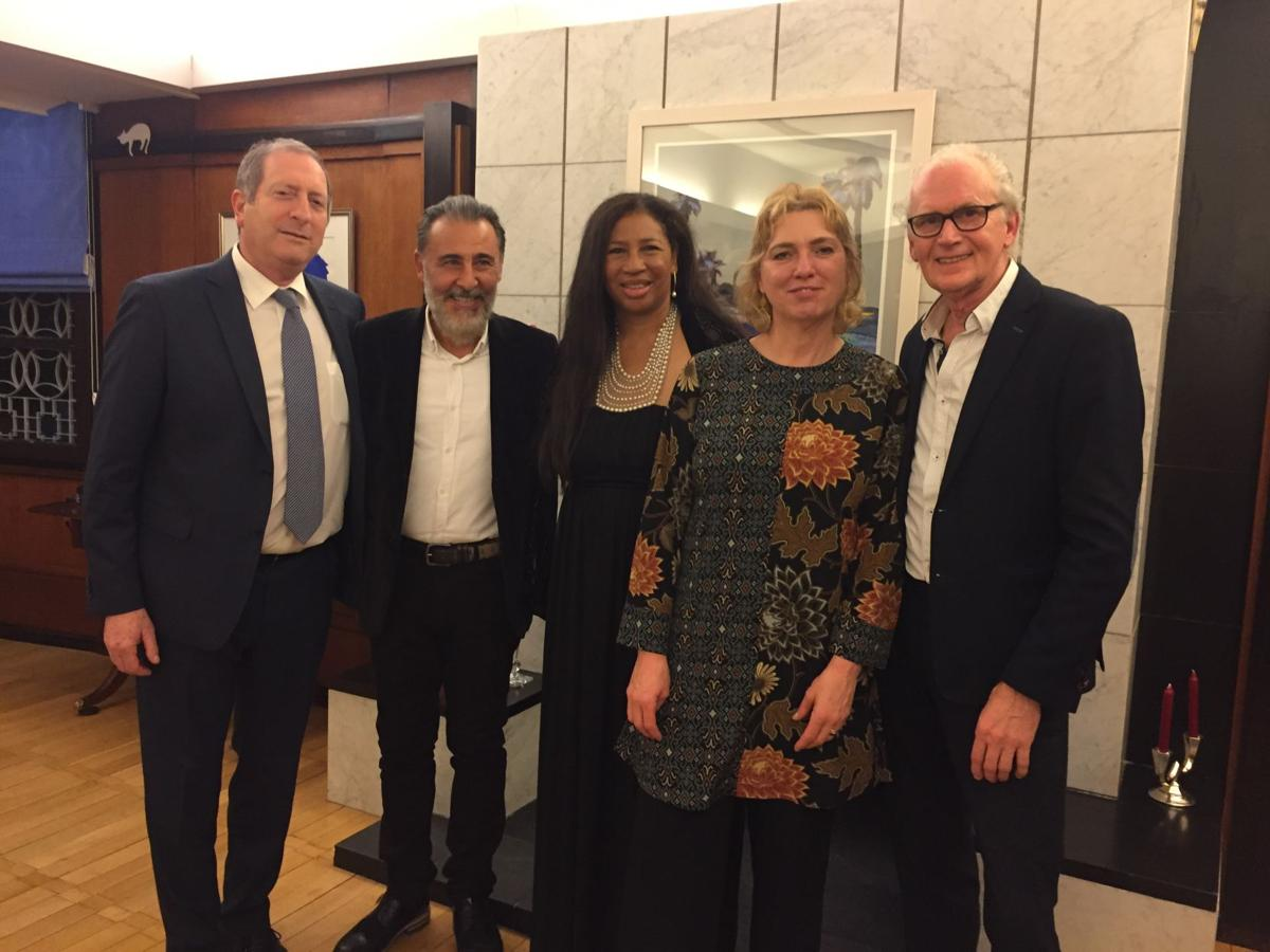 From left to right, Israeli Ambassador Aviv Shir-On, director Kamal Basar from Turkey, director Vivian Melde and composer Christel Veraart from Alaska, and director Jos Grenier from The Netherlands..JPG