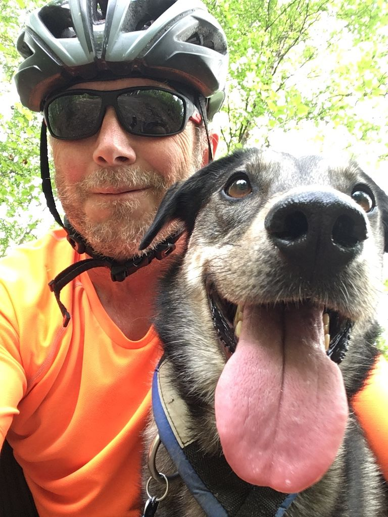 The author and his dog Loki take a break on the Ester Dome Single Track.jpeg