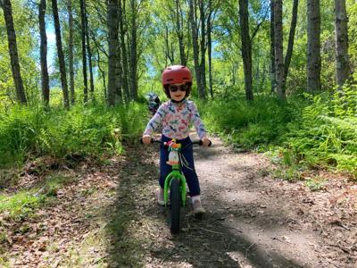 Zara strider biking Gull Rock Trail