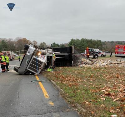 Truck overturns on ramp to I-495 north in Andover