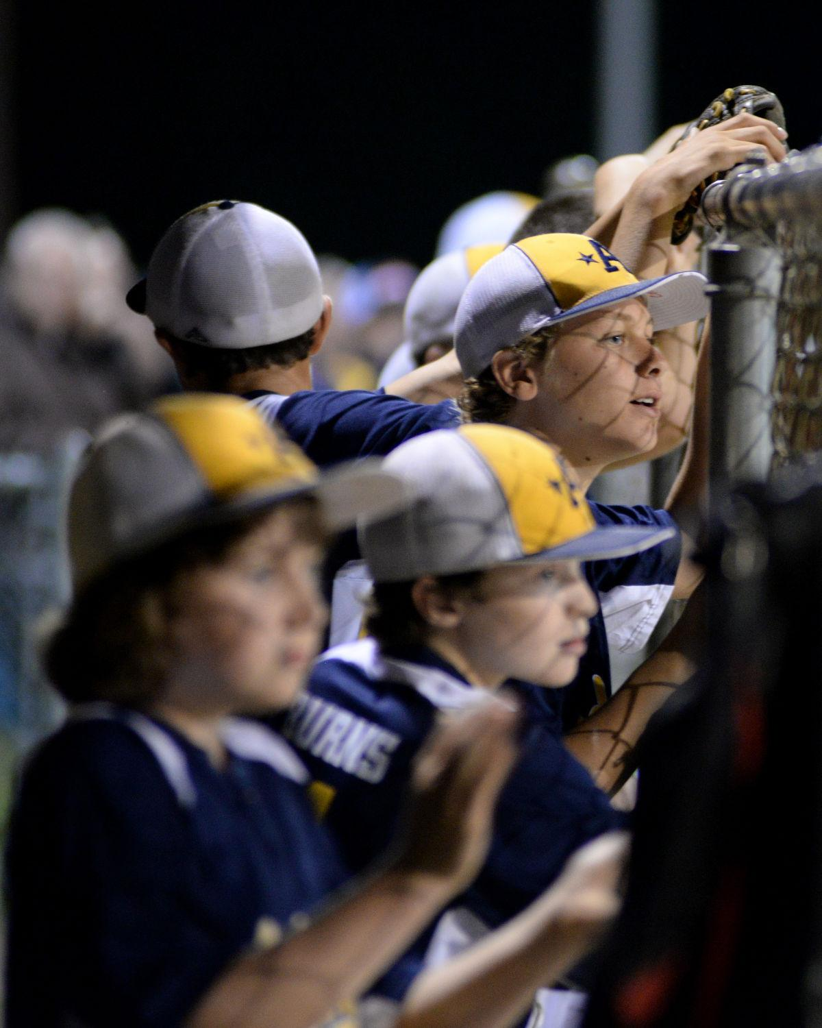 The Andover National's bench watches a teammate at bat in the bottom of the fourth inning of Thursday's game against Andover American. National won 8-2.