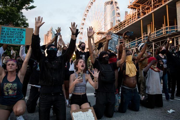 Peaceful protesters in Atlanta