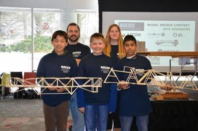 Doherty students build a bridge out of chopsticks