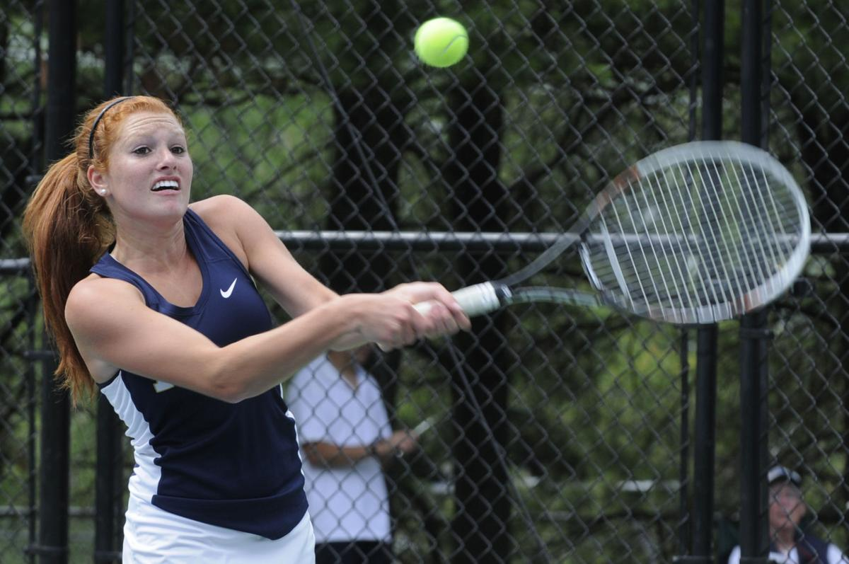 Andover's first singles Courtney Nash returns a serve against Shrewsbury during the MIAA D1 State Final.