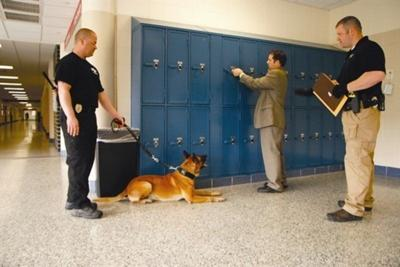 Drug-sniffing dogs roam the halls of Andover High School