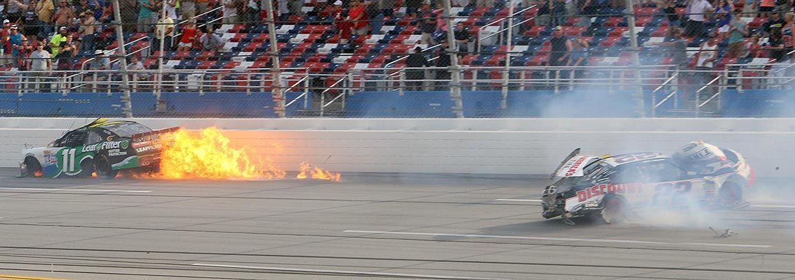 Talladega replay shows sadler is the winner of sparks for Koch xfinity driver