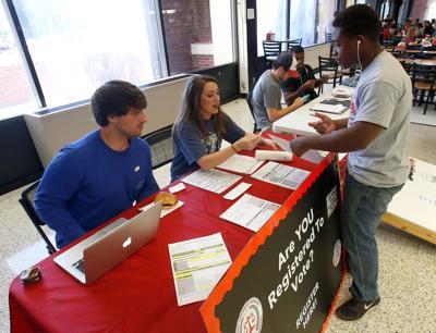 jsu students register to vote take practice u s citizenship test