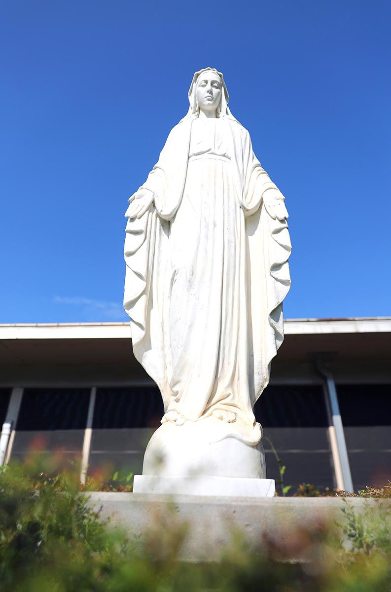 The Virgin Mary statue outside