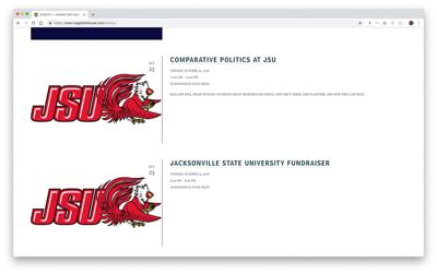 Hagan website with JSU logo