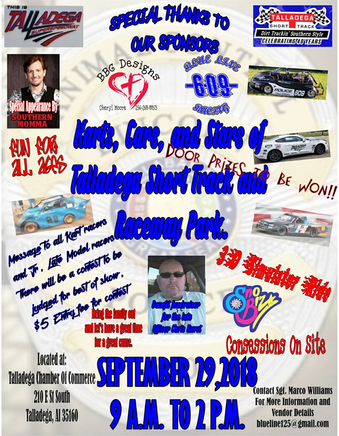 Flier for event to benefit family of late Chris Hurst