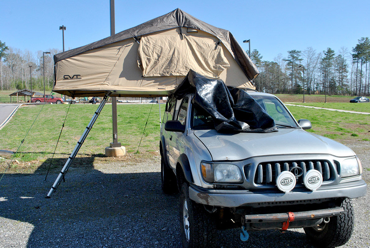 Off-road vehicle with tent at Lakeside Park