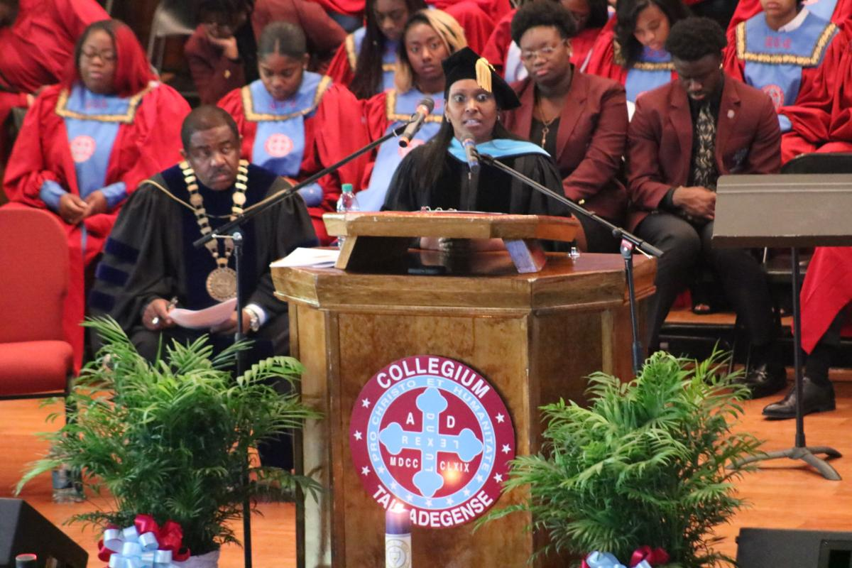Dr. Na Tosha Gatson speaking at Talladega College Alpha Chi Honor Society.JPG
