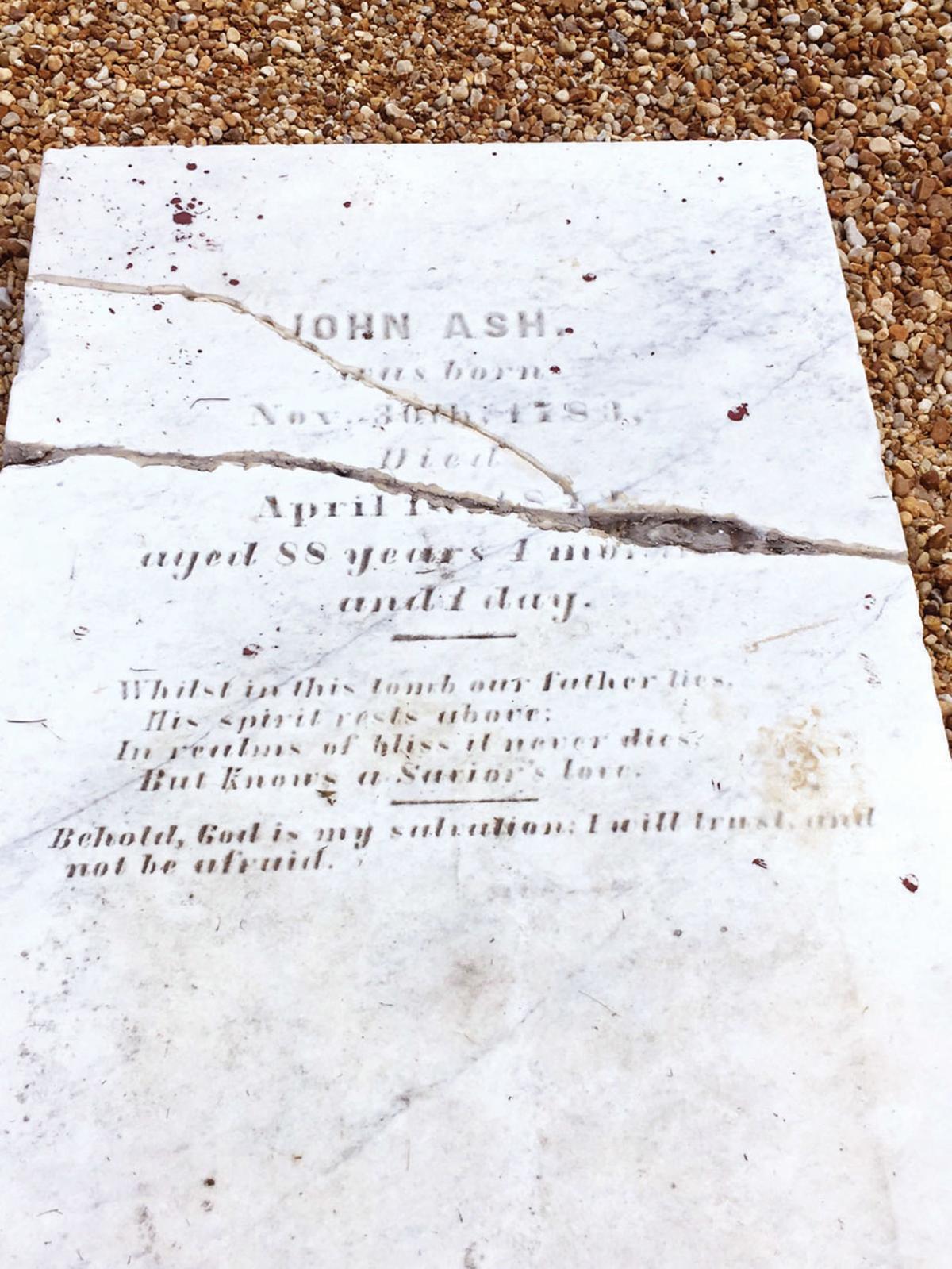 Original headstone of John Ash