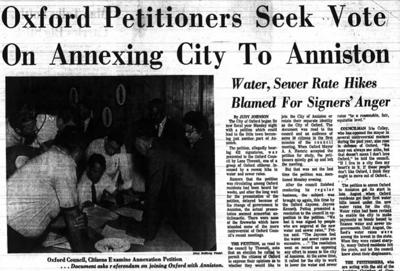 Oxford annexation to Anniston clipping