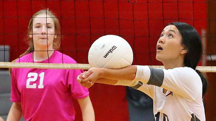 Sacred Heart at Pleasant Valley Volleyball Match