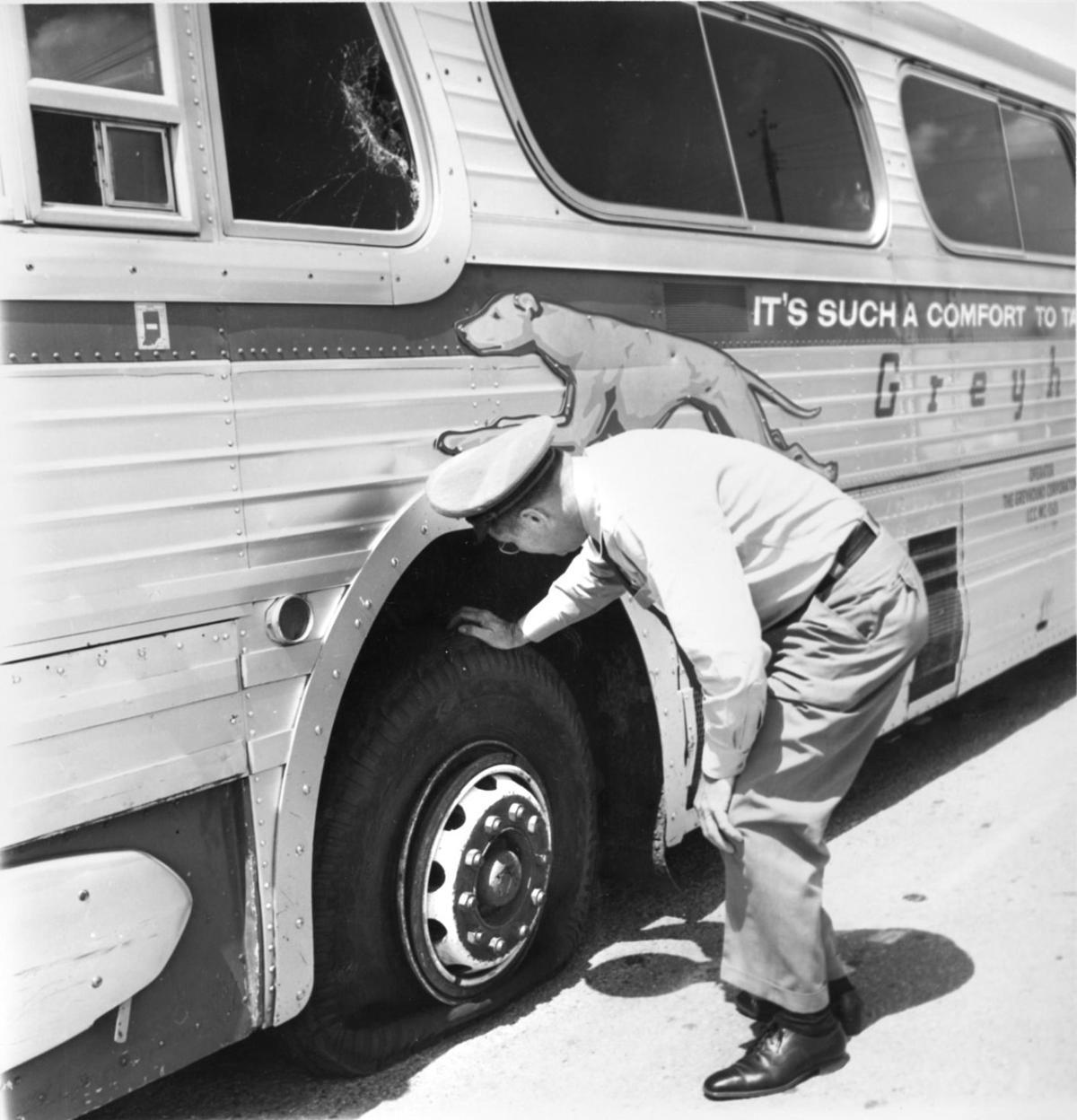 Greyhound flat tire