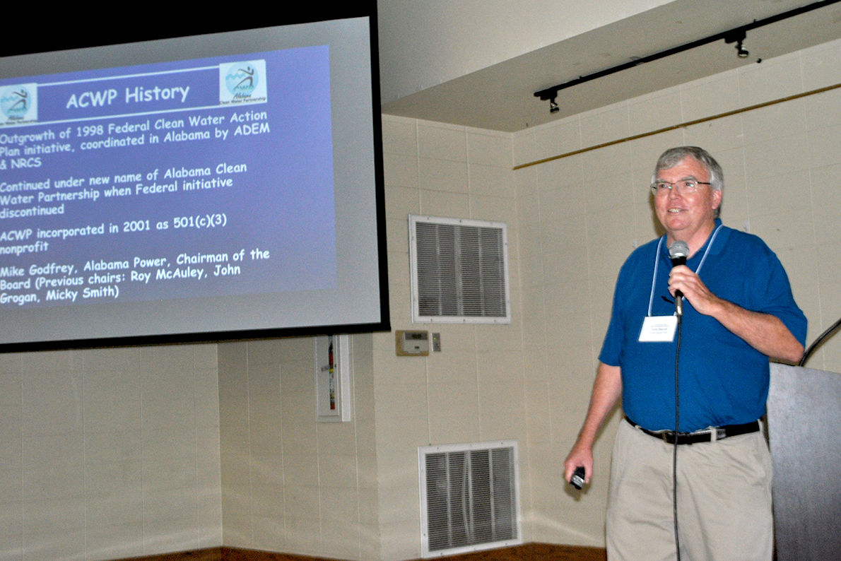 Lem Burell, with Coosa Basin Clean Water Partnership, speaks in Pell City