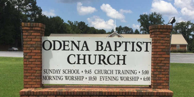 The sign for Odena Baptist Church