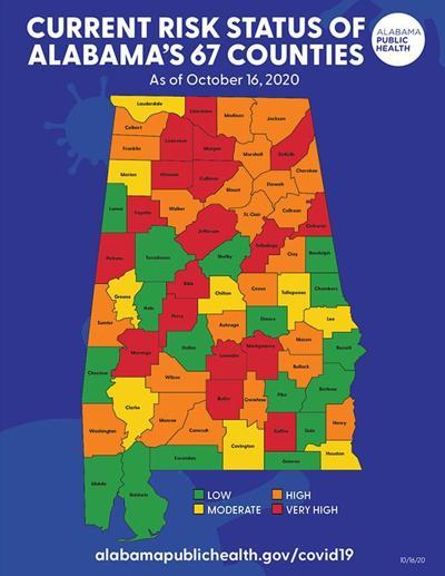Alabama COVID risk map 10-16-20