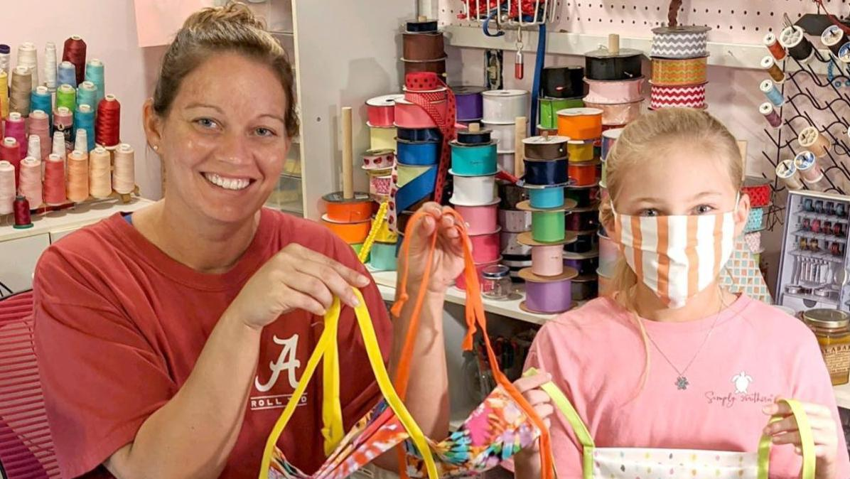 Local family making masks for medical personnel, 1st responders (photo gallery)