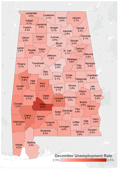 December 2017 county unemployment rates