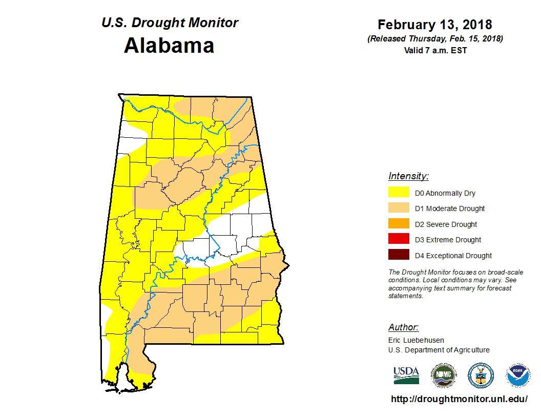 Drought monitor Feb. 15, 2018