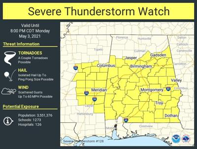 Weather map 5-3-21 severe thunderstorm watch