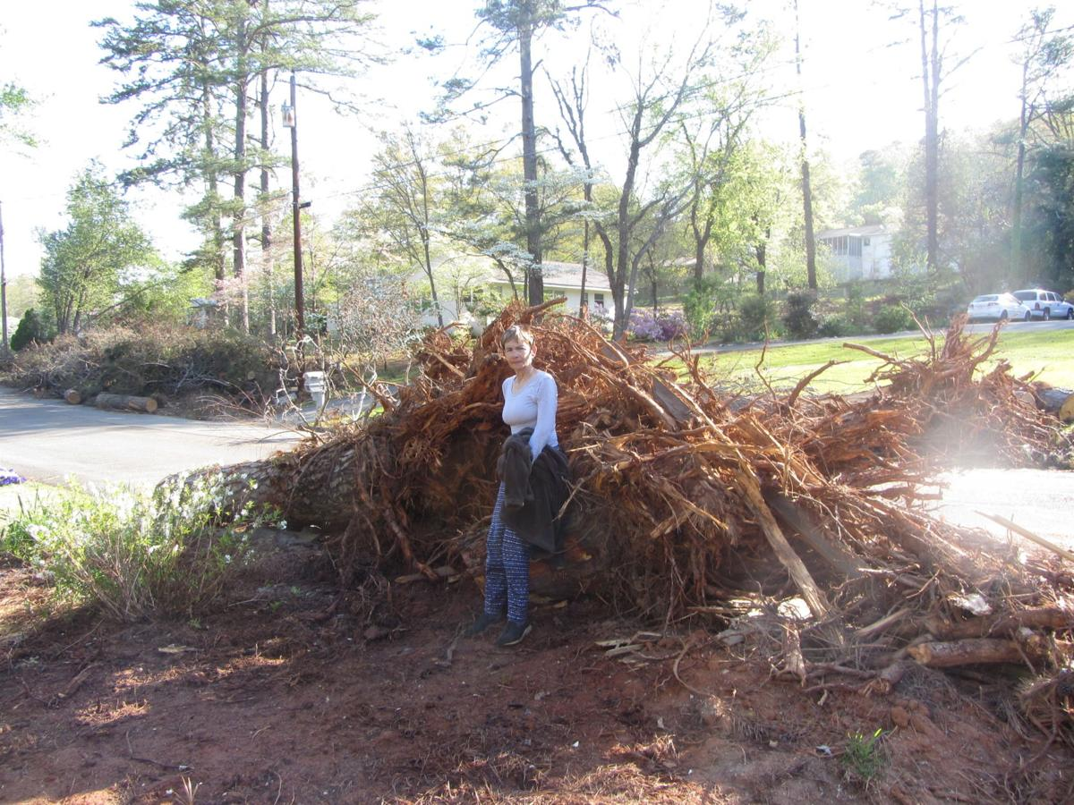 Sherry Blanton with fallen trees
