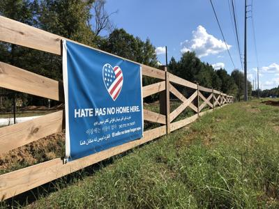 The 'Hate has no home here' sign in Choccolocco
