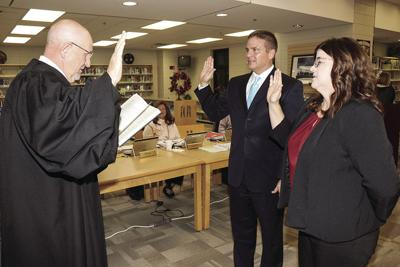 Mike Hobbs Nickie VanPelt take oath for St. Clair BOE